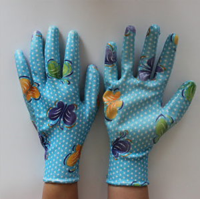 Fashion Camouflage Liner Coated Nitrile Garden Working Glove