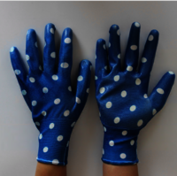 Colorful Printing Linenr Nitrile Coated Smooth Palm Work Gloves