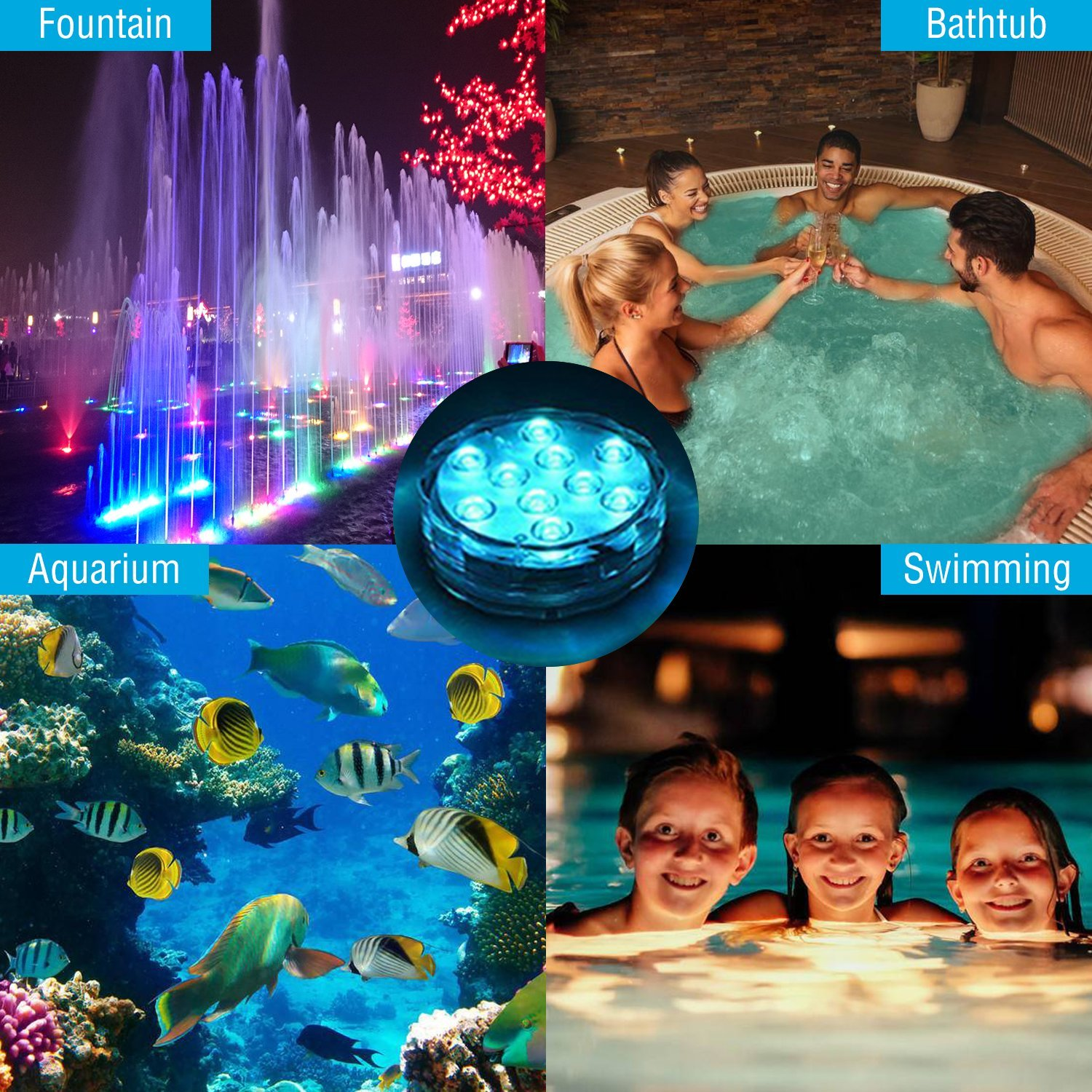 ANORALUX  Submersible LED Lights [4 Pack]