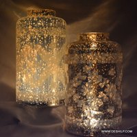 Silver Glass Big Light Candle Holder