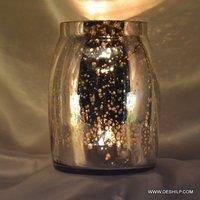 Silver Glass Jar Shape Candle Holder