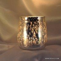 Lota Shape Silver Made Glass Candle Holder