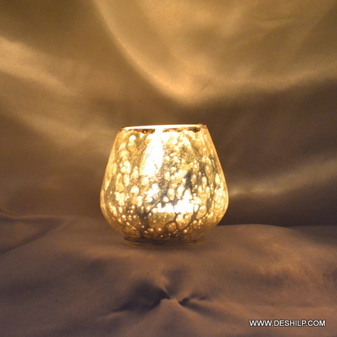 Small Silver Glass T Light Holder