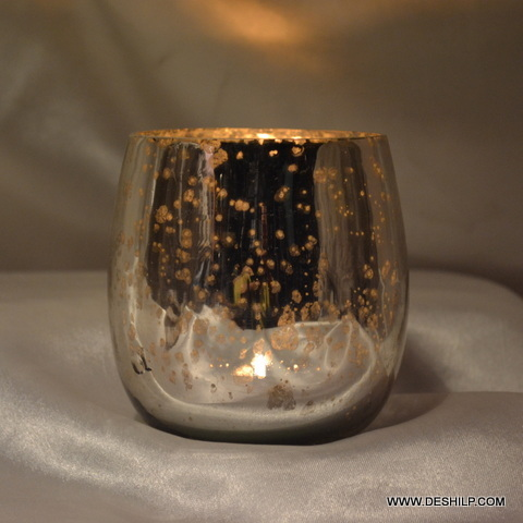 Beautiful Silver Finish Glass Candle Holder