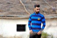 Mens Striped Designer Polo T-Shirt