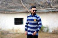 Mens Full Sleeve Striped Polo T-Shirt