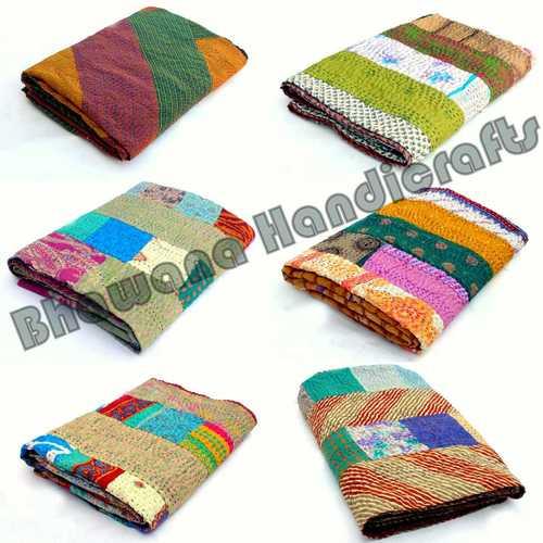 Silk Patchwork kantha Throw