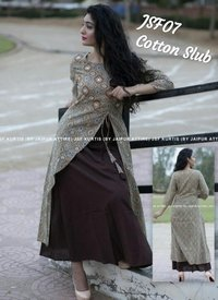 A-line embroidered cotton kurti