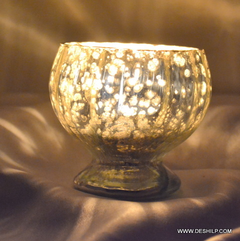 Ice Cup Shape Silver Finish Candle Holder