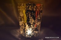 Long Glass Silver Candle Holder