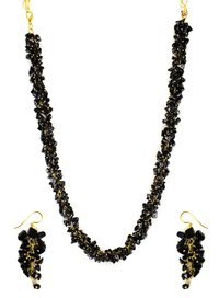 Black Uncut Chips Necklace
