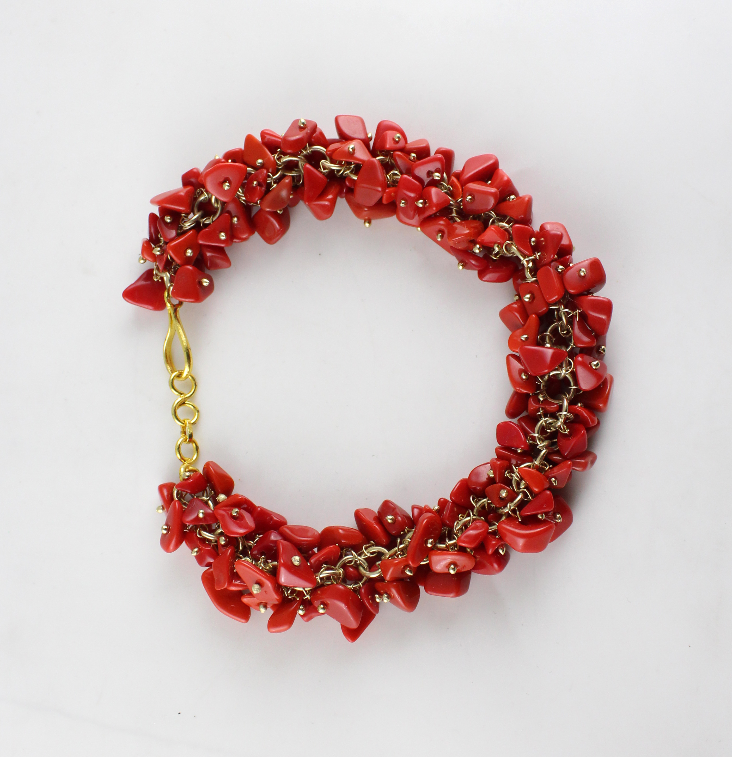 Red Uncut Chips Necklace