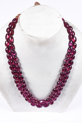Rubilite Oval Beads Necklace
