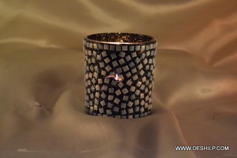 Black Mosaic Hand Decor Candle Holder