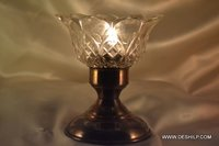 Hurricane Shape Glass T Light Candle Holder