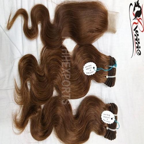 Single Drawn Weft Wavy Closure Remy Real Human Cuticle Hair