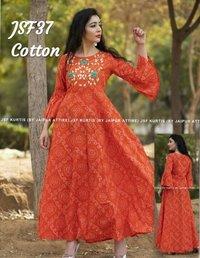 designer embroidered cotton kurti