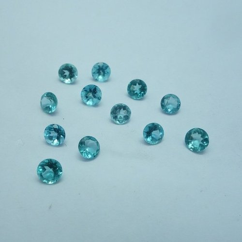 4mm Natural Blue Apatite Faceted Round Loose Gemstone