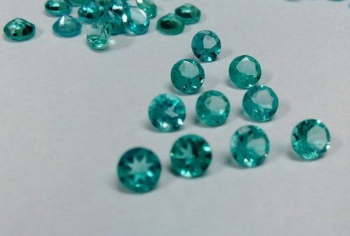 5mm Natural Blue Apatite Faceted Round Loose Gemstone