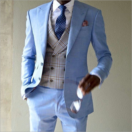 Mens 3 Piece Plain Suit