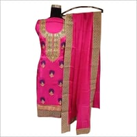 Ladies Unstitched Embroidered Silk Suit