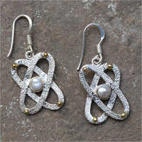 Womens Sterling Silver Pearl Dangle Earrings