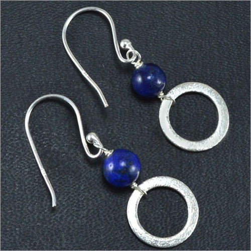 Womens Sterling Silver Lapis Lazuli Beaded Earrings