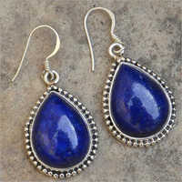 Womens Sterling Silver Lapis Lazuli Tear Drop Earrings
