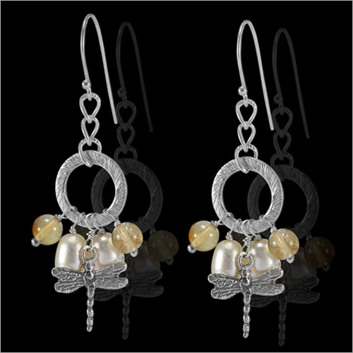 Womens Sterling Silver Citrine And Pearl Dangle Earrings