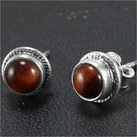Sterling Silver Tiger Eye Studs