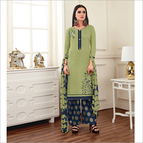 Ladies Cotton Silk Plazzo Suit