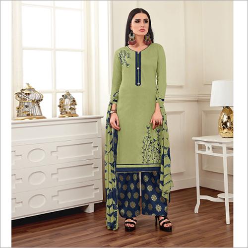 Ladies Cotton Silk Plazzo Suit