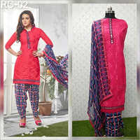 ladies unstitched cambric cotton suit