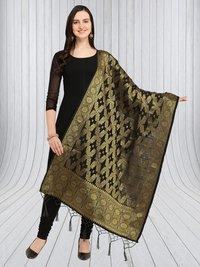 Banarasi Silk Zari Woven Dupatta With Tussels