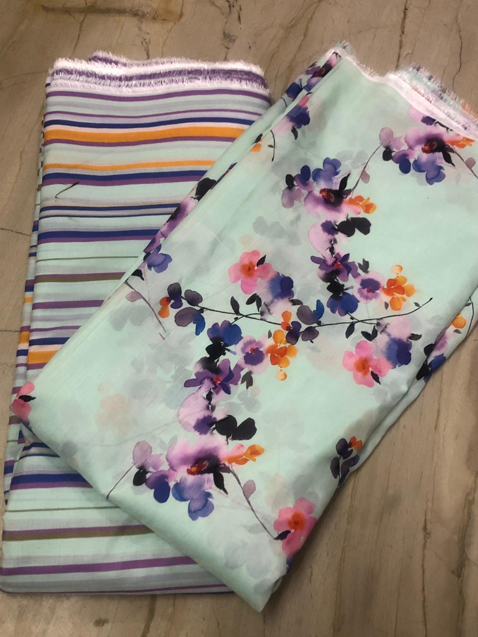 Floral Digital Multicolor Printed Fabric