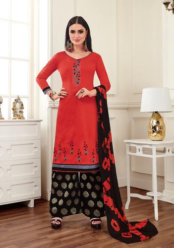 Red And Black Banarasi Cotton Salwar Suit