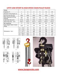 LIFTIT HIGH SPEED AND LOW EFFORT CHAIN PULLEY BLOCKS 1 TON Capacity