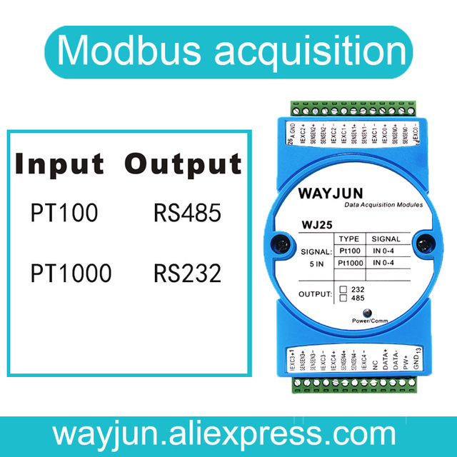 5 channels RTD Temperature Signal to RS485/232 Converter