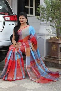 Dyed Linen Cotton Saree