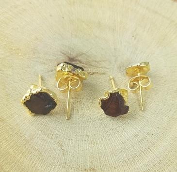 Garnet Rough Stone Stud Earrings -  January Birthstone Earrings