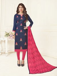 Jacquard Embroidered Dress Material With Thread Work Dupatta