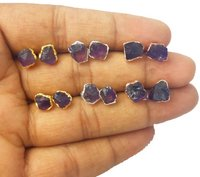 Amethyst Stone Rough Stud Earrings -  February Birthstone Earring