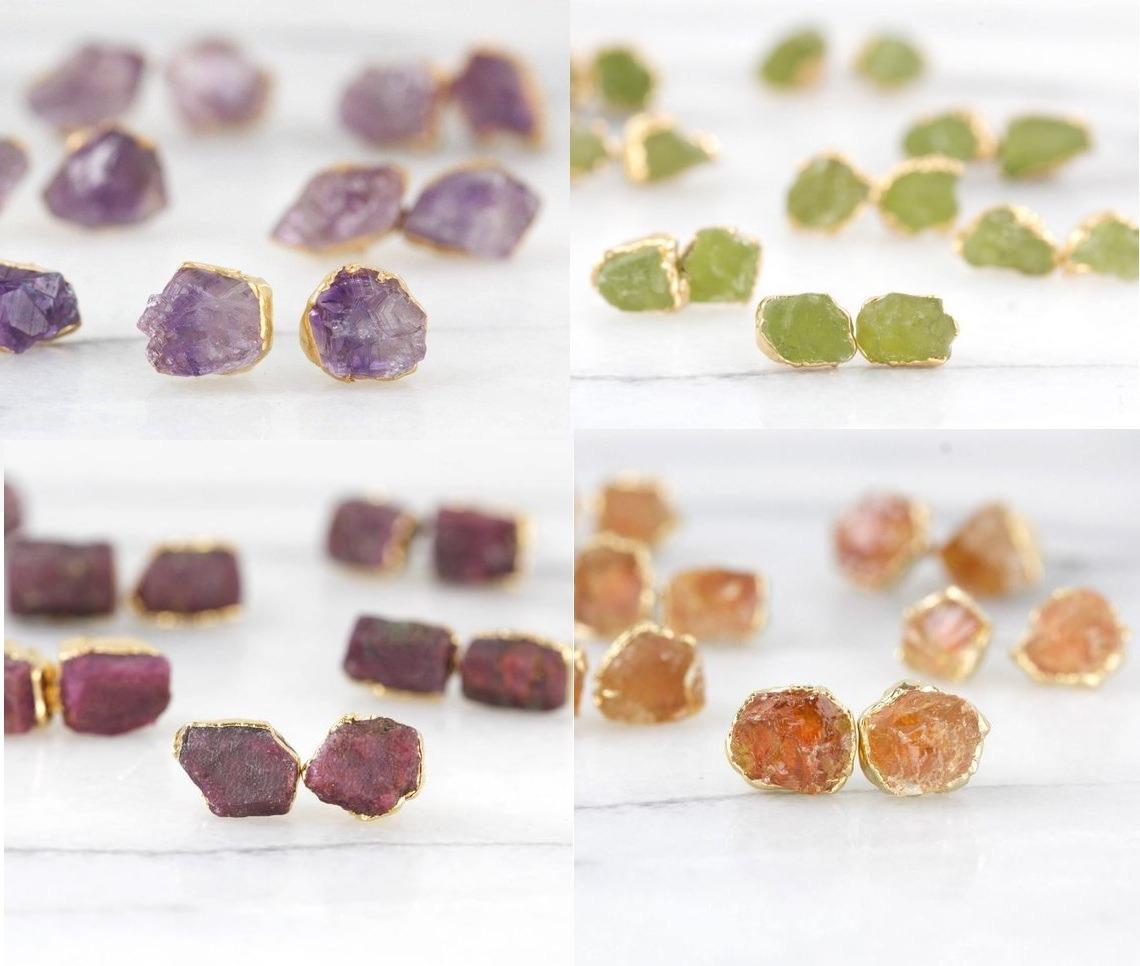Amethyst Stone Rough Stud Earrings -  February Birthstone Earring