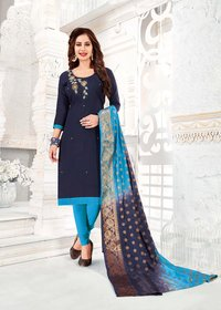 Slub Cotton Handwork Dress Material With Banarasi Dupatta