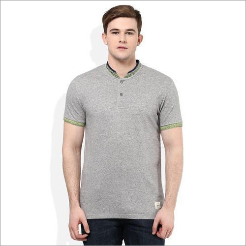 Mens Mandarin Collar T Shirt