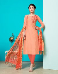 Cotton Thread work suit With Banarasi Dupatta