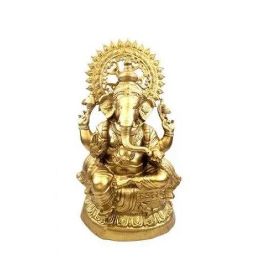 Aluminum Ganesh Statue Brass Finish