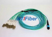 MPO – LC 12 Core fibre optic patch cord Aqua Round Bundle Optical Fiber Cable