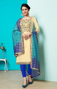 Cotton Embroidered Dress Material Having Beads Work & Banarasi Dupatta