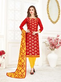 Jacquard Banarasi Dress With Thread Work Dupatta